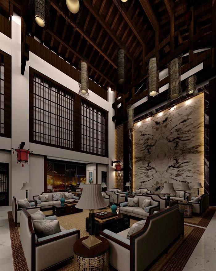 大型中式餐厅装修设计效果图