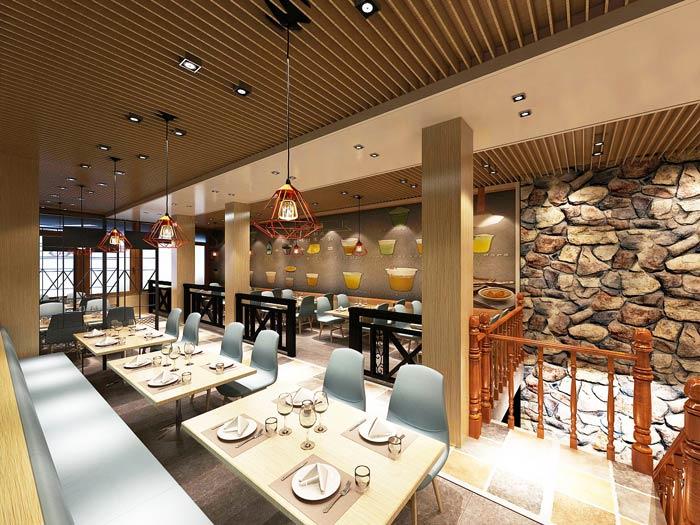 连锁中式快餐店装修设计效果图