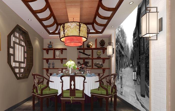 厂房外立面效果图_新中式川菜馆装修设计效果图