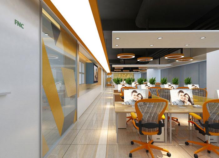 能源科技公司办公室过道装修设计效果图