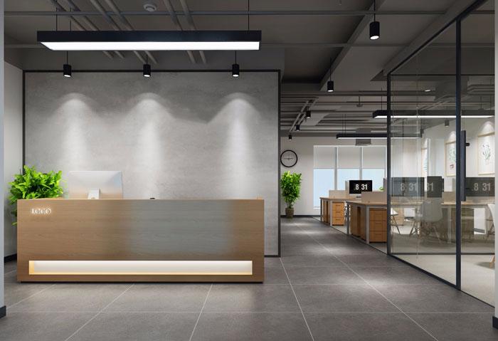 北欧风格办公室前台装修设计效果图